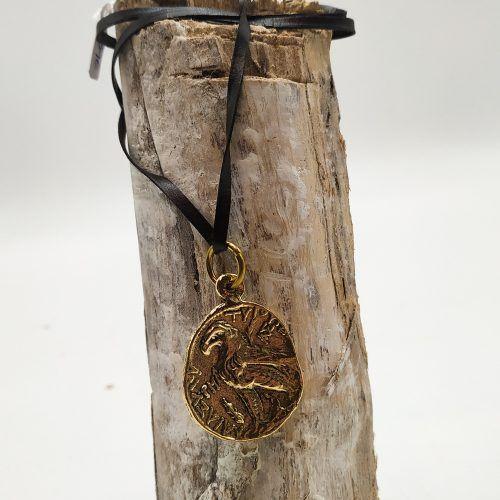 Colgante moneda animal oro cordon (Ref: 135)